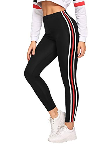 SOLY HUX Women's Sporty Striped Tape Side Elastic Waist Yoga Leggings Black S