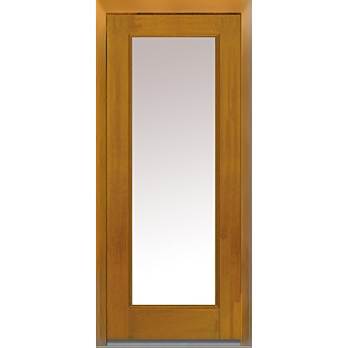 National Door Company Z008243L Fiberglass Prehung In-Swing Entry Door, Left Hand, Full Lite, Clear Glass, Mahogany in Fruitwood, 32'' x 80'' by National Door Company