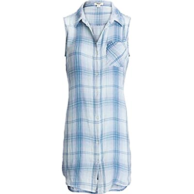 Dylan by True Grit Womens Baja Blue Plaid Shirtdress