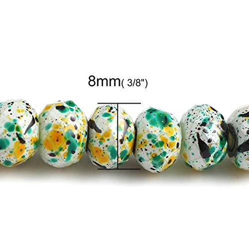 Calvas Glass Beads Round Dot Paint Pattern Faceted About 8mm(3/8
