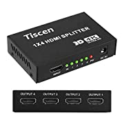Tiscen 4K 1x4 HDMI Splitter (with Power Supply), 1 in 4 Out Port Powered V1.4b 4K@60Hz Video Converter with Full Ultra HD 1080P, 4Kx2K and 3D Resolutions (1 Input to 4 Outputs)