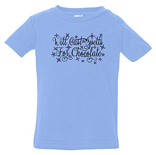 Tenacitee Infant's Will Cast Spells for Chocolate Shirt, 24 Months, Carolina Blue -