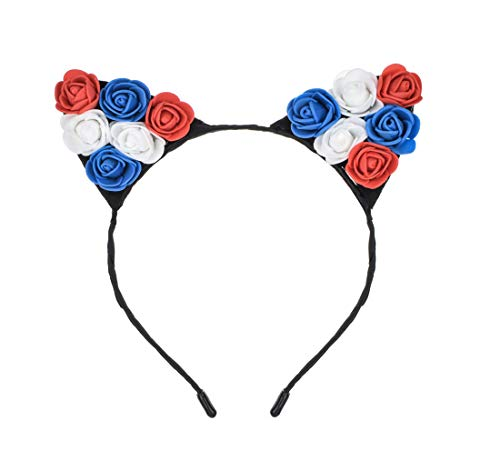 Floral Fall Festival Sunflower Rainbow Rose Flower Cat Ear Headbands Girls Party DaisyHeadpieces HC-16 (Red White Blue)