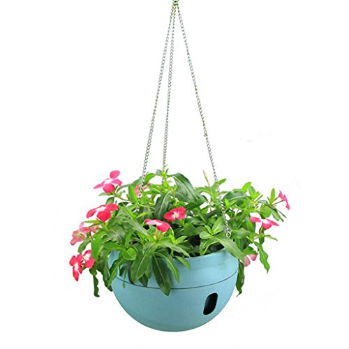 Rain Chain Bamboo (LQQGXL Hanging plastic water storage plant basket flower pot, Flower stand (Color : Blue))