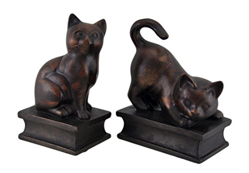 Resin Decorative Bookends Antiqued Bronze Finish Playful Cat Bookends 5.25 X 6.5 X 3 Inches (Antiqued Cat)