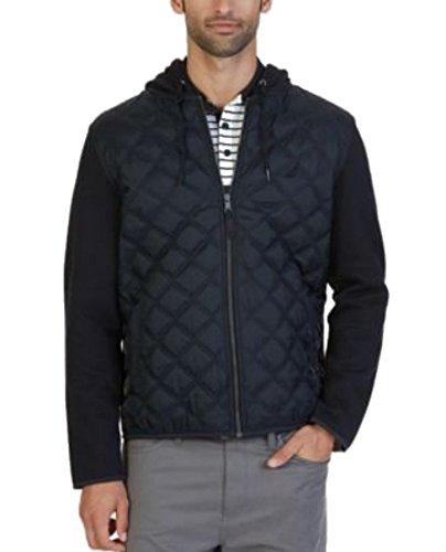 Nautica Men's Fleece Quilted Hoodie Jacket, True Black, XL