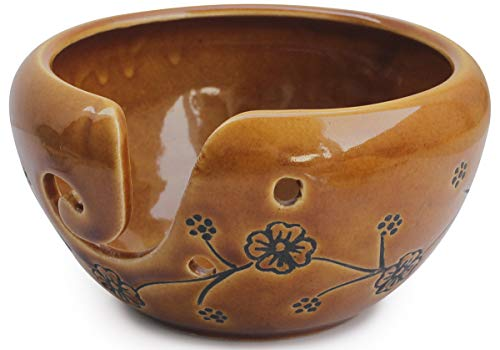 abhandicrafts - Deals of The Day - Ceramic Brown Yarn Bowl for Knitting, Crochet for Moms - Beautiful Gift on All Occasions. A for Moms and Grandmothers 6.5X4 Inch by abhandicrafts (Image #2)