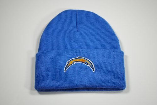 San Diego Chargers Sky Blue Beanie Hat - NFL Aqua Bolts Knit Cuffed (San Diego Chargers Bolt)