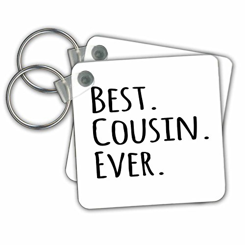 (Best Cousin Ever - Gifts for family, relatives- black - Key Chains, 2.25 x 2.25 inches, set of 2)