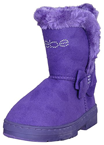 bebe Toddler Girls Chatz Micro Suede Boots with Rhinestone Embellished Logo & Bow, Purple, Size 6' -