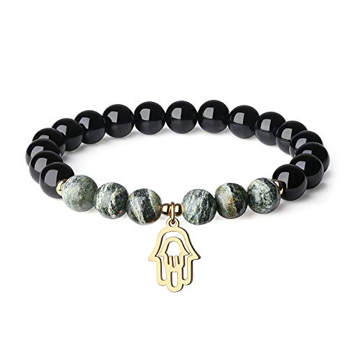 COAI Hamsa Hand Jewelry Black Tourmaline Zebra Jasper Stone Bracelet