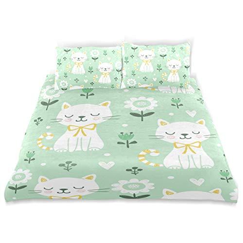 (senya Ultra Soft 3pc Duvet Cover Set Cute Cats Printed Luxury Lightweight Microfiber Velvet Warm Cozy Bedding Set for Kids Boys Girls)
