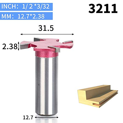 - 1 piece HUHAO 1pcs 1/4 1/2 Shank 4 edge T type slotting cutter woodworking tool router bits for wood Industrial Grade milling cutter