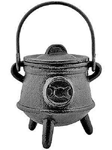 Cast Iron Cauldron with Lid, Triple Moon Symbol 4 1/2 inch