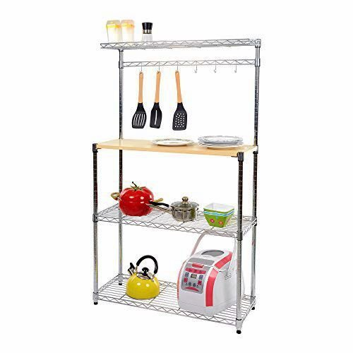Livebest 4-Tier Wire Shelving Unit Baker's Rack Kitchen Microwave Stand Storage Cart Kitchen Workstation Shelf with Wheels by Livebest