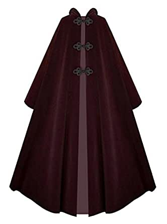 Victorian Vagabond Hooded Steampunk Historical Medieval Gothic Cape Cloak (Burgundy)