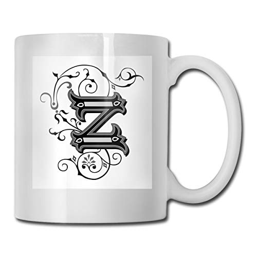 (Funny Ceramic Novelty Coffee Mug 11oz,The Last Letter Of The Alphabet In Calligraphic Design Z Symbol Curls Swirls,Unisex Who Tea Mugs Coffee Cups,Suitable for Office and Home)
