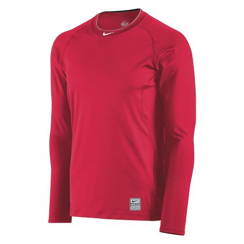Nike Men's Pro Combat Core Fitted Raglan L/S Shirt Scarlet 2XL