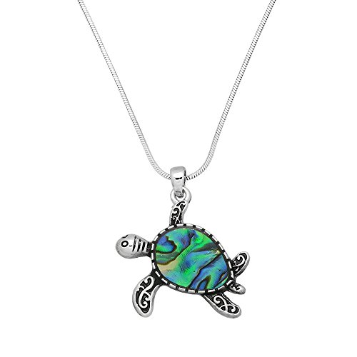 Mother Of Pearl Turtle Pendant (Sea Turtle Pendant Necklace Abalone Shell High Polished Rhodium)