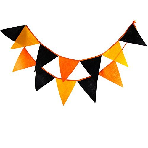 INFEI Halloween Felt Flags Bunting Banner Garlands for Wedding, Birthday Party, Outdoor & Home Decoration -