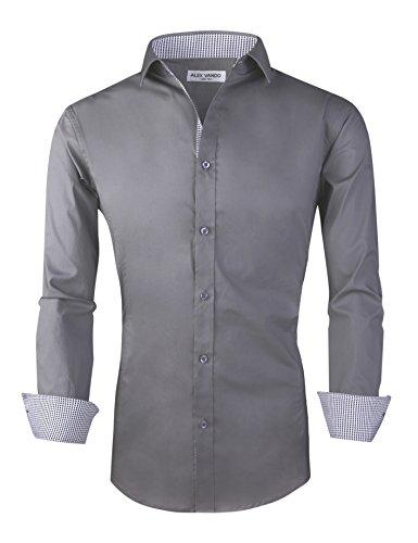 - Joey CV Mens Casual Button Down Shirts Long Sleeve Regular Fit Men Shirt(Charcoal Grey,Medium)