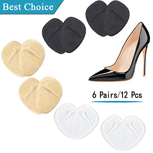 (12PCS) Ball of Foot Cushions, Metatarsal Pads/Cushion, Soft Gel Insole Pads High Heel Inserts *Reusable* Forefoot Cushions Best for Mortons Neuroma & Metatarsal Foot Pain Relief - for Men & Women.