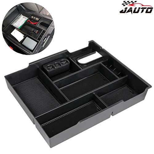 JAUTO for 2014-2019 Toyota Tundra, Center Console Insert Organizer Tray ABS Armrest Storage Box - Full Tray (Black) ()