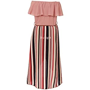 BluNight Collection Little Girls 2 Ways Ruffle Hi Lo Maxi Skirt Romper Belt Jumpsuit Romper USA 4-14