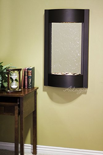 Adagio Water Fountains - Adagio Serene Waters Wall Fountain - Silver Mirror, Textured Black Frame