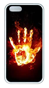 iPhone 5S Case, iPhone 5S Cases -Hand Stays Fire TPU Rubber Soft Case Back Cover for iPhone 5/5S šC White