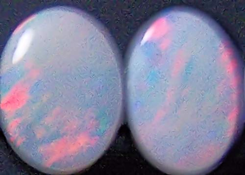 Stunning 8x6 Red Fire Natural Australian Solid Crystal Opal Oval cabochon Pair 2.5ct