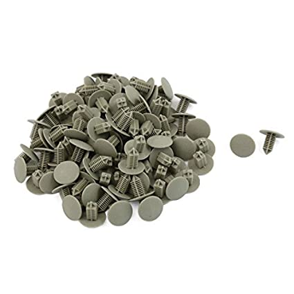 eDealMax 100 piezas DE 6,5 mm Agujero gris remaches de plástico parachoques Puerta Sujetador