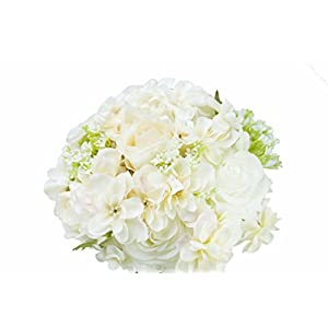 Generic Hand Tie Fresh Style Artificial White Rose Flower Bouquet for Wedding Home Party Decor with Men Groom Corsage(Pack of 1 set) 64