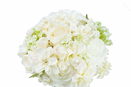 (Generic Hand Tie Fresh Style Artificial White Rose Flower Bouquet for Wedding Home Party Decor with Men Groom Corsage(Pack of 1 set))