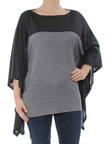 LAUREN RALPH LAUREN Womens Silk Blend Colorblocked Poncho Sweater Gray XXS/XS
