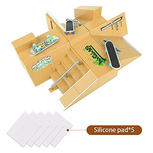 TIME4DEALS Finger Skateboard Park 8pcs Skate Park Kit Ramp Parts, Mini Fingerboard Rails Starter Kit with 3 fingerboards & 5 Silicone Mat Set ()
