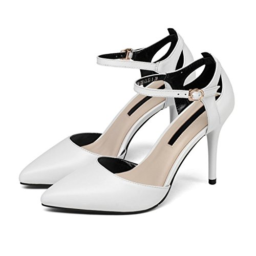 Womens Pointed Toe High Heel Pumps Ladies Ankle Strap Court Shoes Sandals Wedding Party Office Stiletto Shoes White TMjfnA