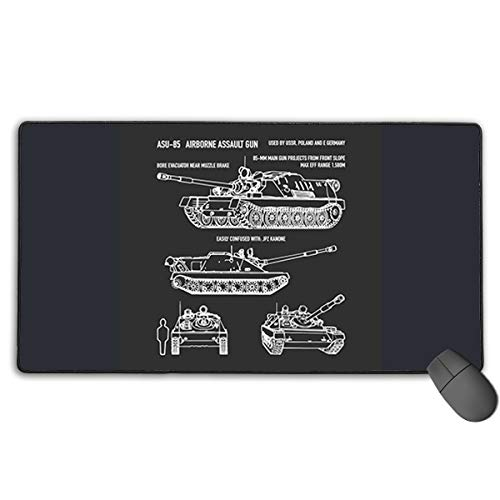 ASU-85 Russian Airborne Self-Propelled Gun Airborne Gaming Mouse Pad Mat, Stitched Edges, Waterproof, Ultra Thick 3mm, Wide & Long Mouse Pad 30x15.7 Inch