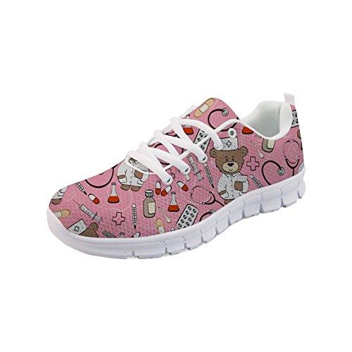 STARTERY Running Sports Shoes for Women Lovely Nurse Bear Print Outdoor Walking Shoes Sneaker Flat Size US 8 -
