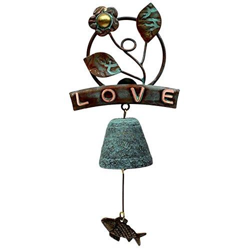 Vintage Flower Bronze Doorbell Handmade Wind Chime Love Text Shop Store Keeper Bell 0313