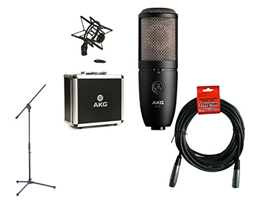 enser Microphone + Boom Mic Stand + XLR Cable (Akg Large Diaphragm Condenser Microphone)