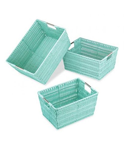 Whitmor Rattique Shelf Tote-Seafoam (Wicker Cube)