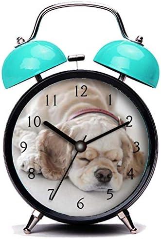 GIRLSIGHT3 Blue Alarm Clock,Dog Cocker Spaniel Dog Sleeping Loud Alarm Clock Twin Bell Alarm Clocks with Nightlight