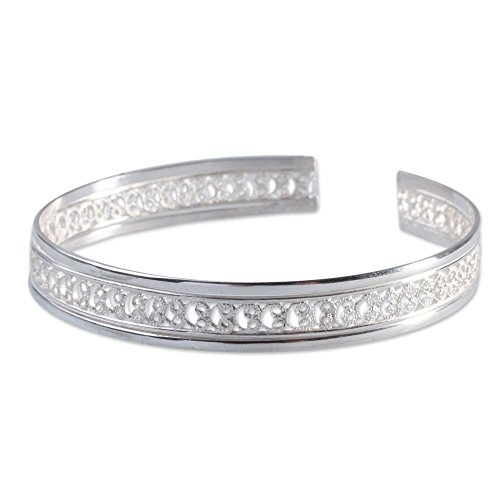 "NOVICA .925 Sterling Silver Cuff Bracelet, 6.5"", Filigree Illusion"
