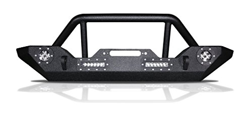 UDIT Black Textured Rock Crawler LED Front Bumper With 2x D-Ring & Winch Plate for 07-18 Jeep Wrangler JK