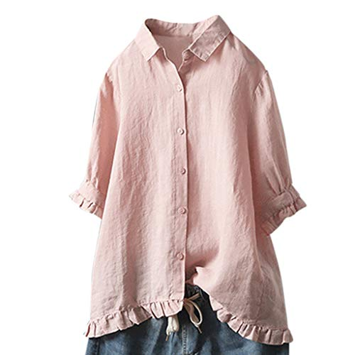 OrchidAmor Women Lace Button Turn Down Collar Middle Sleeve Solid Color T-Shirt Top Blouse ()
