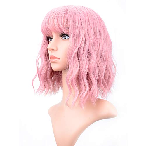 VCKOVCKO Pastel Wavy Wig With Air Bangs Women's Short Bob Pink Wig Curly Wavy Shoulder Length Pastel Bob Synthetic Cosplay Wig for Girl Colorful Costume Wigs(12
