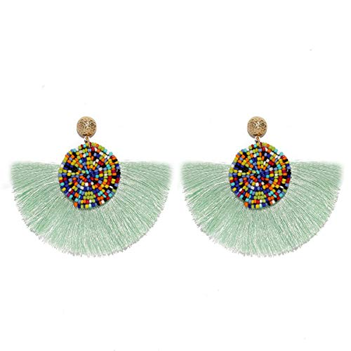 MOOCHI Women Colorful Round Semi-Circle Bohemian Beaded Drop Tassel Hoop Dangle Earrings pistachio green