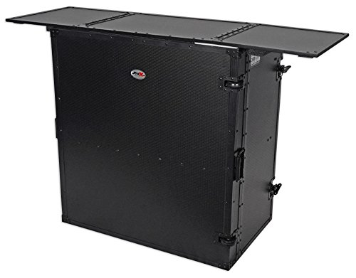 ProX Transformer Series Fold Away DJ Performance Desk Facade Black on Black W/ Wheels