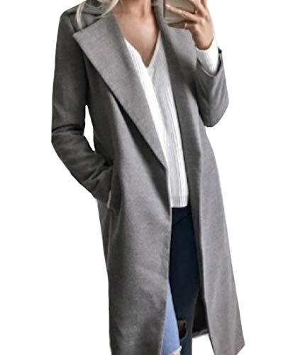 XINHEO Collar Cardigan Women Down Winter Big Turn Grey Fall Coat Wrap Pockets rqrBt